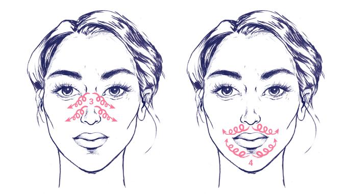 Masaż twarzy - technika rozcieranie - schemat ruchów - okolice ust i nosa